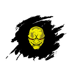 Yellow head devil with abstract black background vector