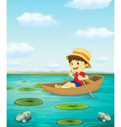 Boy on boat vector image vector image