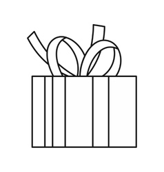 Christmas box with bow icon outline style vector image vector image