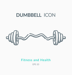 dumbbell icon on white background vector image