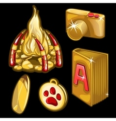 Golden book camera pendant and other items vector image