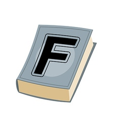 Letter F on cover of retro books Concept of vector image vector image