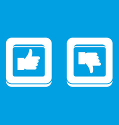 Signs hand up and down in squares icon white vector