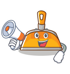 with megaphone dustpan character cartoon style vector image vector image