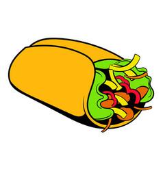 wrap sandwich icon cartoon vector image vector image