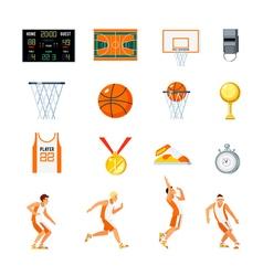 Basketball Orthogonal Icons Set vector image