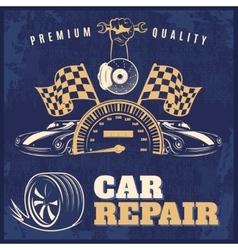 Car repair retro poster vector
