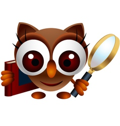 cute owl with magnifying glass vector image vector image