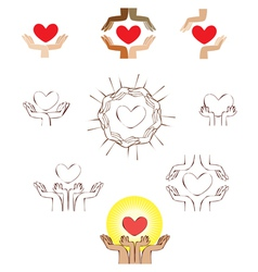 Hands and heart icon logo element vector image vector image