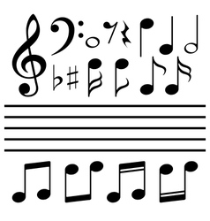 icons set music note vector image vector image