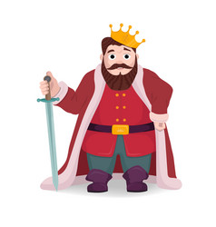 king character knight posing with sword and crown vector image vector image