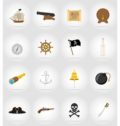 pirate flat icons 17 vector image vector image