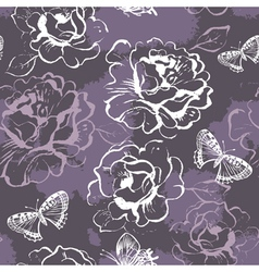 Seamless floral pattern with roses and butterflies vector image vector image