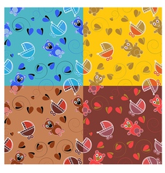 set of patterns for childrens themes vector image vector image