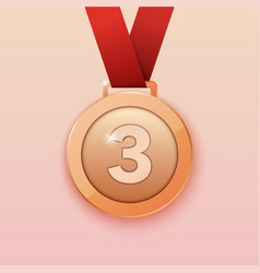 bronze medal for third prize vector image