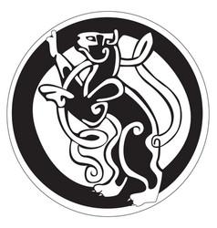 celtic design of a cat inside a circle vector image