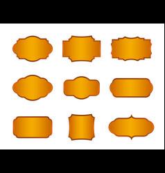 Golden vintage frames set isolated elements vector