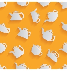 Seamless pattern of the kettle with a long shadow vector image vector image