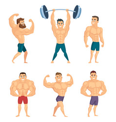 cartoon characters of strong and muscular vector image