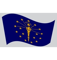 Flag of Indiana waving on gray background vector image vector image