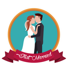 Just married kissing couple label vector