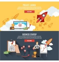 Rocket launch banners interactive webpage design vector