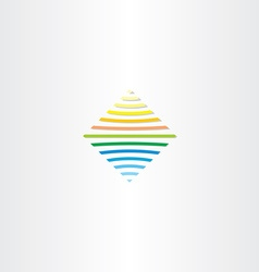 sun and water line square logo vector image