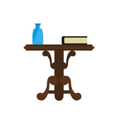 wooden round table with book and bottle isolated vector image vector image