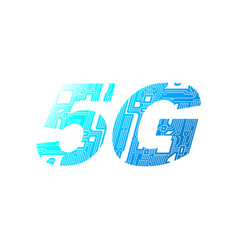 5g mobile networking from circuit board on white vector image