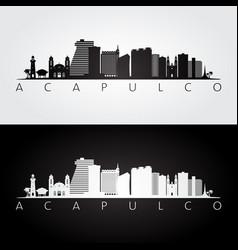 acapulco skyline and landmarks silhouette black vector image