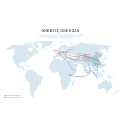 Asia and europe international transit way chinese vector