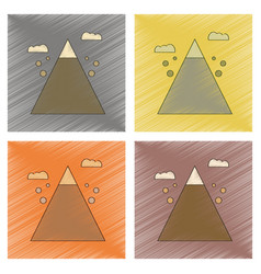 Assembly flat shading style icon mountain stones vector