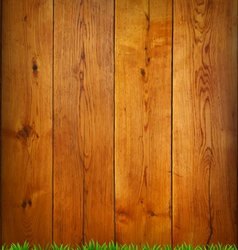 Background from oak boards with green grass vector image