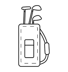 Bag for golf clubs icon outline style vector
