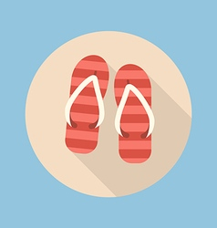 Beach slippers flat icon vector