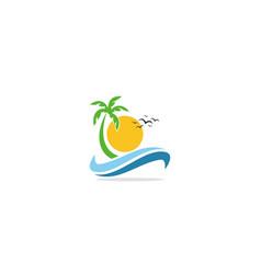 beach tropic palm tree logo vector image