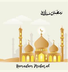 Beautiful mosque with creative ramadan kareem vector