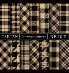 beige set tartan plaid seamless patterns vector image