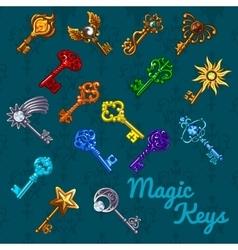 Big colorful magical set of keys vector image
