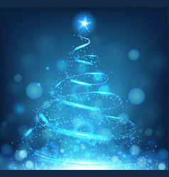 Blue christmas tree on bright blue background vector