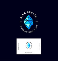 Blue crystal jewelry logo identity vector