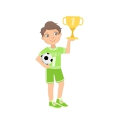 Boy Dressed As Football Player With Ball And Cup vector