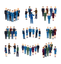 Business People Groups Flat Icons Collection vector