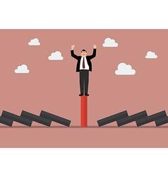 Businessman celebrating on unique red domino tile vector