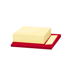 Butter on a cutting board vector
