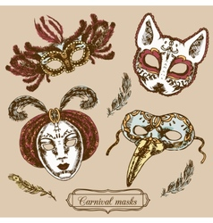 Carnival mask composition set vector
