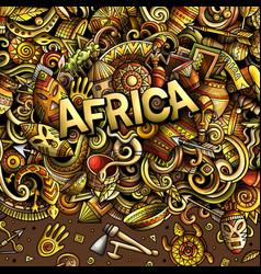 Cartoon cute doodles africa word vector