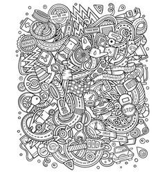 Cartoon doodles funny sketchy automotive vector