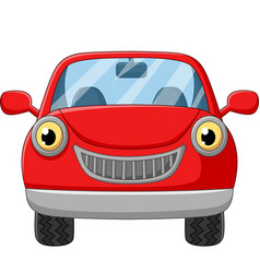 cartoon red car on white background vector image
