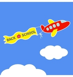 Cartoon red plane Ribbon with words Back to vector